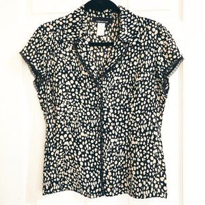 Jones New York Black and Tan Polka Dot Lace Top 8